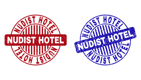 Grunge NUDIST HOTEL round stamp seals isolated on a white background. Round seals with distress texture in red and blue colors.