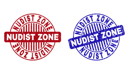 Grunge NUDIST ZONE round stamp seals isolated on a white background. Round seals with distress texture in red and blue colors.
