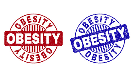 Grunge OBESITY round stamp seals isolated on a white background. Round seals with grunge texture in red and blue colors. Vector rubber overlay of OBESITY caption inside circle form with stripes.
