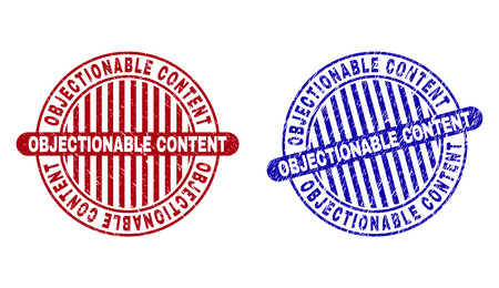 Grunge OBJECTIONABLE CONTENT round stamp seals isolated on a white background. Round seals with grunge texture in red and blue colors. Ilustração