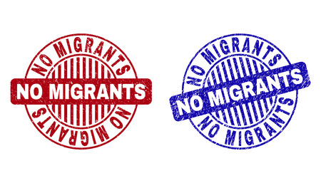 Grunge NO MIGRANTS round stamp seals isolated on a white background. Round seals with distress texture in red and blue colors.