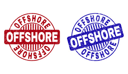 Grunge OFFSHORE round stamp seals isolated on a white background. Round seals with grunge texture in red and blue colors. Vector rubber watermark of OFFSHORE label inside circle form with stripes.
