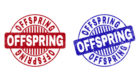 Grunge OFFSPRING round watermarks isolated on a white background. Round seals with grunge texture in red and blue colors. Vector rubber watermark of OFFSPRING label inside circle form with stripes.