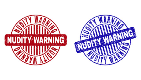 Grunge NUDITY WARNING round stamp seals isolated on a white background. Round seals with grunge texture in red and blue colors. Ilustrace