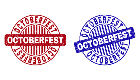 Grunge OCTOBERFEST round stamp seals isolated on a white background. Round seals with grunge texture in red and blue colors. 일러스트