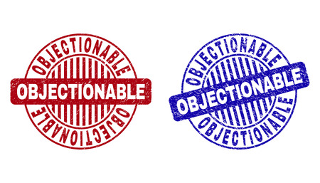 Grunge OBJECTIONABLE round stamp seals isolated on a white background. Round seals with grunge texture in red and blue colors. Illustration
