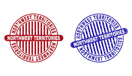 Grunge NORTHWEST TERRITORIES round stamp seals isolated on a white background. Round seals with distress texture in red and blue colors.