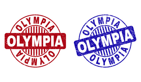 Grunge OLYMPIA round stamp seals isolated on a white background. Round seals with grunge texture in red and blue colors. Vector rubber imprint of OLYMPIA title inside circle form with stripes.