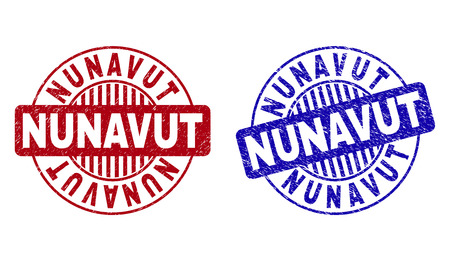Grunge NUNAVUT round stamp seals isolated on a white background. Round seals with grunge texture in red and blue colors. Vector rubber imprint of NUNAVUT caption inside circle form with stripes.