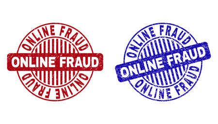 Grunge ONLINE FRAUD round stamp seals isolated on a white background. Round seals with grunge texture in red and blue colors. Vector rubber overlay of ONLINE FRAUD tag inside circle form with stripes.