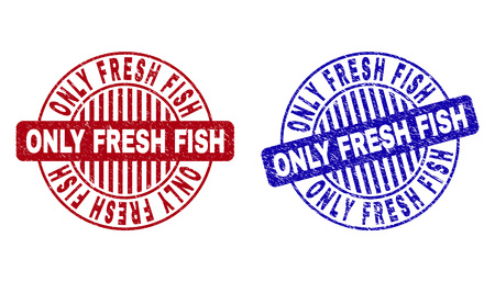 Grunge ONLY FRESH FISH round stamp seals isolated on a white background. Round seals with grunge texture in red and blue colors. Illusztráció