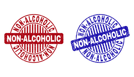 Grunge NON-ALCOHOLIC round stamp seals isolated on a white background. Round seals with grunge texture in red and blue colors. Ilustração