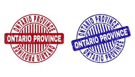 Grunge ONTARIO PROVINCE round stamp seals isolated on a white background. Round seals with grunge texture in red and blue colors.