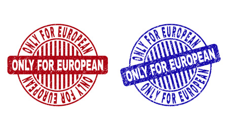 Grunge ONLY FOR EUROPEAN round stamp seals isolated on a white background. Round seals with distress texture in red and blue colors.