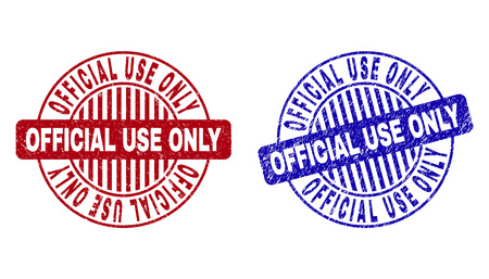Grunge OFFICIAL USE ONLY round stamp seals isolated on a white background. Round seals with grunge texture in red and blue colors.