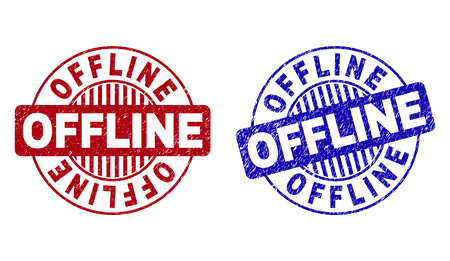 Grunge OFFLINE round stamp seals isolated on a white background. Round seals with distress texture in red and blue colors. Vector rubber overlay of OFFLINE label inside circle form with stripes. Illusztráció