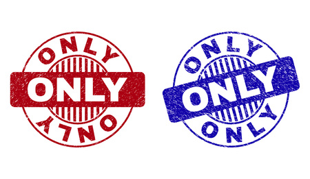 Grunge ONLY round stamp seals isolated on a white background. Round seals with grunge texture in red and blue colors. Vector rubber imitation of ONLY caption inside circle form with stripes.