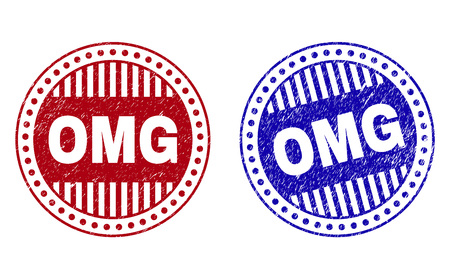 Grunge OMG round stamp seals isolated on a white background. Round seals with grunge texture in red and blue colors. Vector rubber overlay of OMG text inside circle form with stripes.