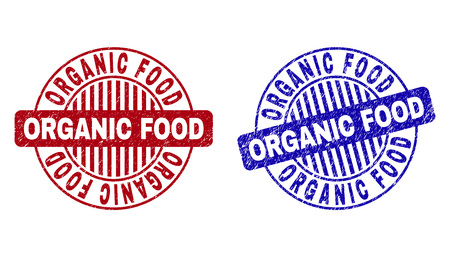 Grunge ORGANIC FOOD round stamp seals isolated on a white background. Round seals with grunge texture in red and blue colors. Illusztráció