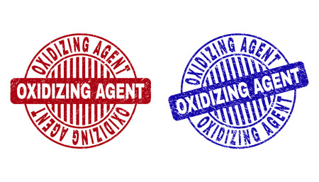 Grunge OXIDIZING AGENT round stamp seals isolated on a white background. Round seals with grunge texture in red and blue colors.
