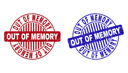 Grunge OUT OF MEMORY round stamp seals isolated on a white background. Round seals with grunge texture in red and blue colors.