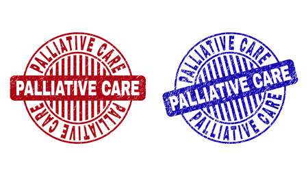 Grunge PALLIATIVE CARE round stamp seals isolated on a white background. Round seals with distress texture in red and blue colors.