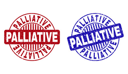 Grunge PALLIATIVE round stamp seals isolated on a white background. Round seals with distress texture in red and blue colors.