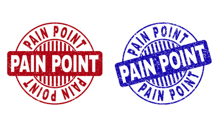 Grunge PAIN POINT round stamp seals isolated on a white background. Round seals with grunge texture in red and blue colors. Vector rubber imitation of PAIN POINT label inside circle form with stripes.
