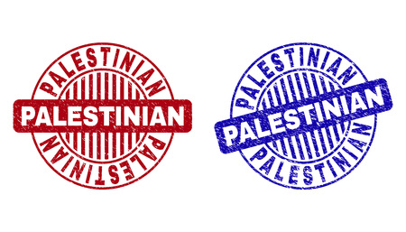 Grunge PALESTINIAN round stamp seals isolated on a white background. Round seals with grunge texture in red and blue colors. Imagens - 120362473