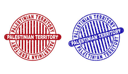 Grunge PALESTINIAN TERRITORY round stamp seals isolated on a white background. Round seals with distress texture in red and blue colors.