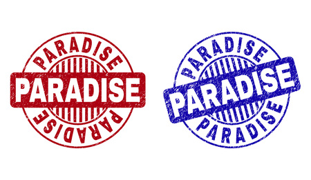 Grunge PARADISE round stamp seals isolated on a white background. Round seals with grunge texture in red and blue colors. Vector rubber imitation of PARADISE caption inside circle form with stripes.