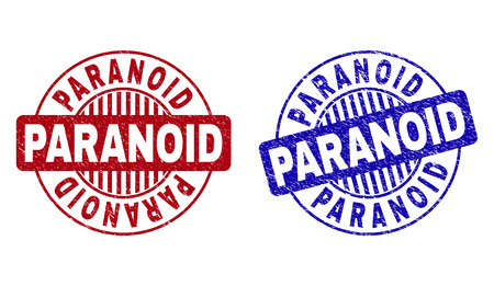 Grunge PARANOID round stamp seals isolated on a white background. Round seals with grunge texture in red and blue colors. Vector rubber overlay of PARANOID caption inside circle form with stripes.