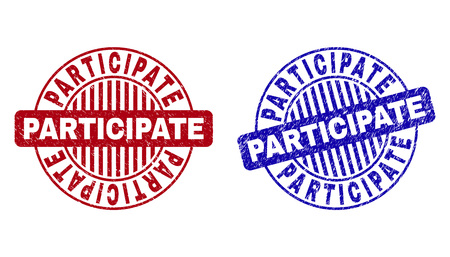 Grunge PARTICIPATE round stamp seals isolated on a white background. Round seals with grunge texture in red and blue colors. Vector rubber overlay of PARTICIPATE tag inside circle form with stripes. Vecteurs