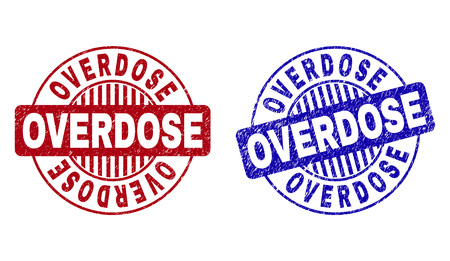 Grunge OVERDOSE round stamp seals isolated on a white background. Round seals with grunge texture in red and blue colors. Vector rubber imitation of OVERDOSE title inside circle form with stripes.