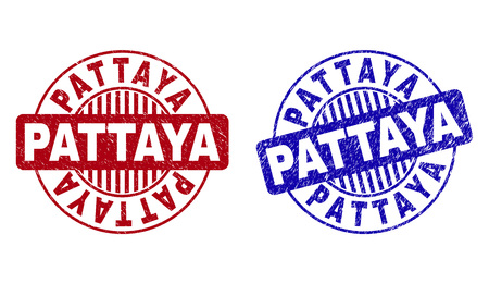 Grunge PATTAYA round stamp seals isolated on a white background. Round seals with grunge texture in red and blue colors. Vector rubber imprint of PATTAYA text inside circle form with stripes.  イラスト・ベクター素材