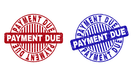 Grunge PAYMENT DUE round stamp seals isolated on a white background. Round seals with grunge texture in red and blue colors.