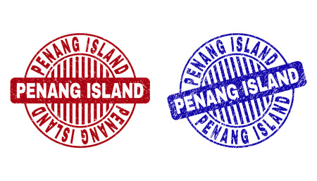 Grunge PENANG ISLAND round stamp seals isolated on a white background. Round seals with grunge texture in red and blue colors.