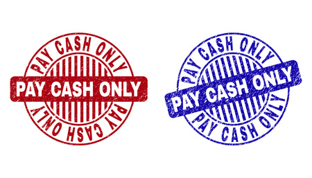 Grunge PAY CASH ONLY round stamp seals isolated on a white background. Round seals with grunge texture in red and blue colors. Illusztráció