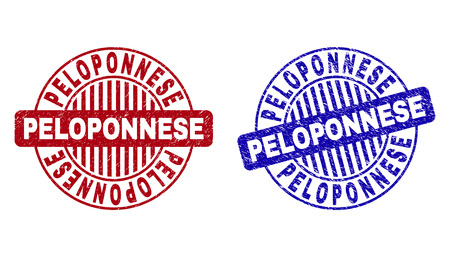 Grunge PELOPONNESE round stamp seals isolated on a white background. Round seals with grunge texture in red and blue colors. Vector rubber imprint of PELOPONNESE text inside circle form with stripes. Illustration