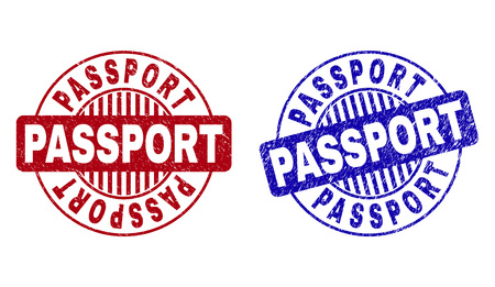 Grunge PASSPORT round watermarks isolated on a white background. Round seals with grunge texture in red and blue colors. Vector rubber watermark of PASSPORT text inside circle form with stripes.