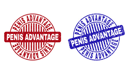Grunge PENIS ADVANTAGE round stamp seals isolated on a white background. Round seals with grunge texture in red and blue colors.
