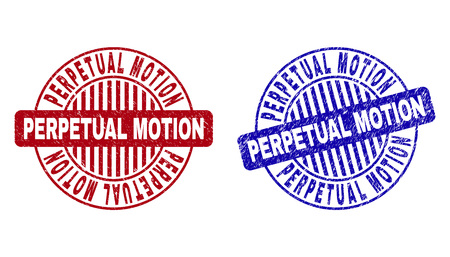 Grunge PERPETUAL MOTION round stamp seals isolated on a white background. Round seals with grunge texture in red and blue colors.