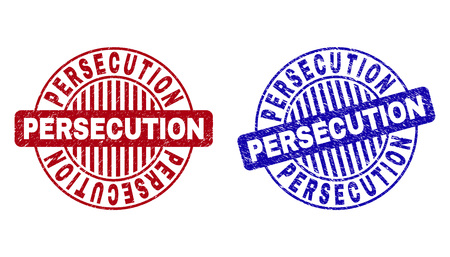 Grunge PERSECUTION round stamp seals isolated on a white background. Round seals with grunge texture in red and blue colors.