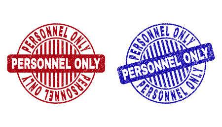 Grunge PERSONNEL ONLY round stamp seals isolated on a white background. Round seals with grunge texture in red and blue colors.