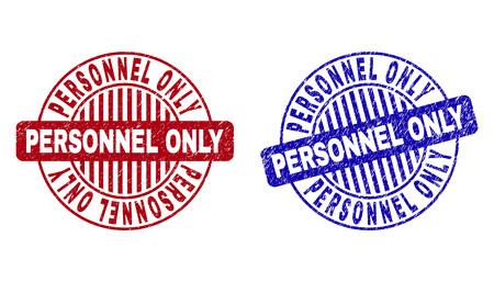 Sellos de sello redondo SÓLO PERSONAL Grunge aislados sobre fondo blanco. Sellos redondos con textura grunge en colores rojo y azul.
