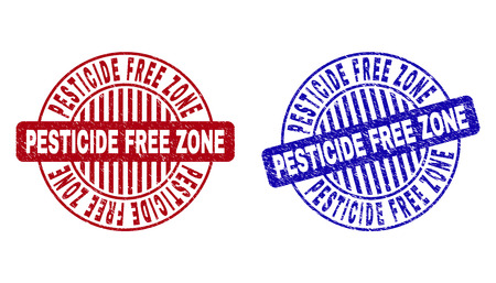 Grunge PESTICIDE FREE ZONE round stamp seals isolated on a white background. Round seals with grunge texture in red and blue colors. Illustration