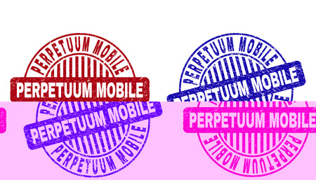 Grunge PERPETUUM MOBILE round stamp seals isolated on a white background. Round seals with grunge texture in red and blue colors. Stock Illustratie