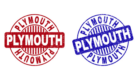 Grunge PLYMOUTH round stamp seals isolated on a white background. Round seals with grunge texture in red and blue colors. Vector rubber watermark of PLYMOUTH caption inside circle form with stripes.