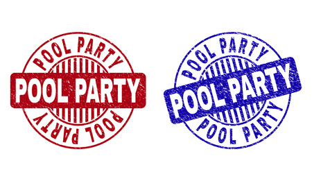 Grunge POOL PARTY round stamp seals isolated on a white background. Round seals with grunge texture in red and blue colors. Vector rubber overlay of POOL PARTY caption inside circle form with stripes.