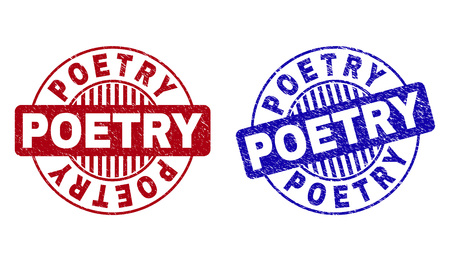 Grunge POETRY round stamp seals isolated on a white background. Round seals with grunge texture in red and blue colors. Vector rubber imitation of POETRY label inside circle form with stripes.